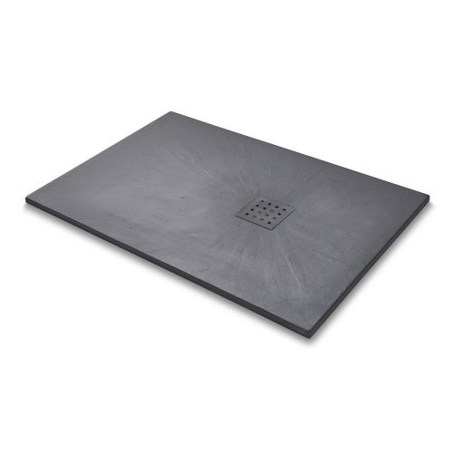 Mode 1200mm x 800mm Graphite Slate Effect Rectangular Shower Tray & Graphite Waste